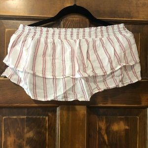 American Eagle Red and White Ruffle Crop Top
